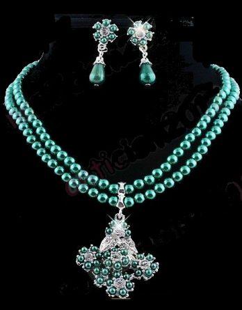 Schmuckset Perlenkette + Ohrringe grün Strass NEU (5182)
