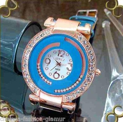 Onli Quartz Schmuck Uhr Strass türkis weiß Armbanduhr NEU (5254[1])