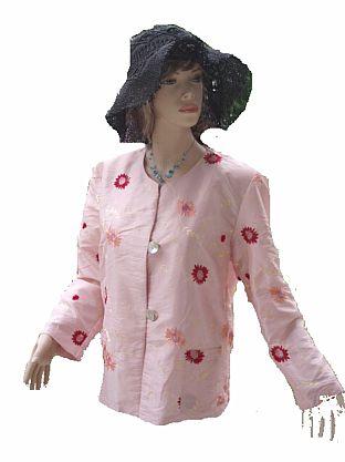 Celebrity Sommer Blazer rosa bunt gemustert Gr 44 (5736)