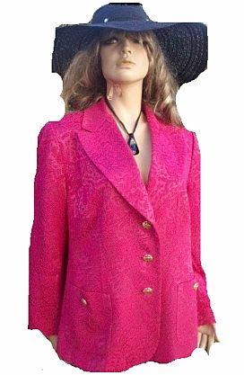 AE Elegance Paris Blazer Pink schwarz gemustert Gr 44 (5666)