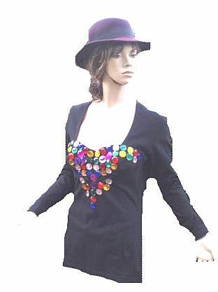 Blacky Dress Shirt schwarz Pailletten Strass Gr 40 - 42 (1308)