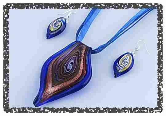 Schmuckset Glas Design Kette + Ohrringe Hand Made Schmuckband NEU 234(18)