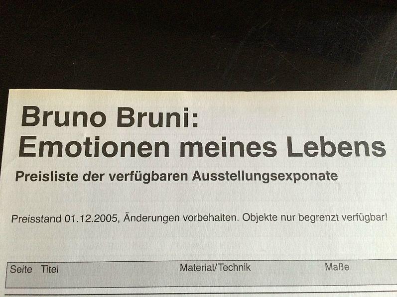 Bruno Bruni Emotionen meines Lebens Preisliste von 2005 (5225)