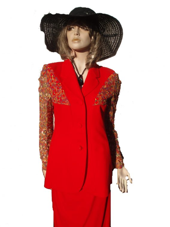 AE Prestige Elegance Kostüm rot Spitze Gr 40 (2594)