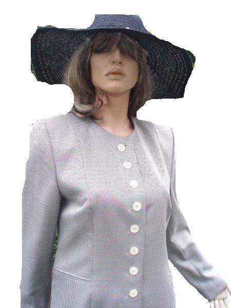 Antonette by Franz Haushofer Kostüm schwarz weiß meliert Seide Wolle Gr 38 (5619)