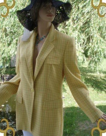 Elegance Paris Blazer 100% Schurwolle gelb hellblau Gr. 38 (5342)