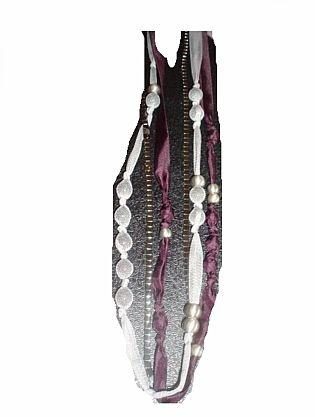 Bonita lange 3er Kette grau schwarz lila (6789)