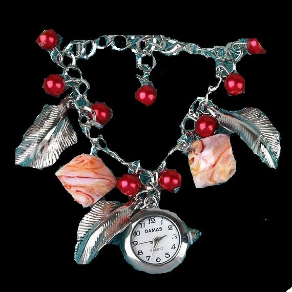 Damas rote Glas Style Glas Perlen Uhr Armband Bettelarmband NEU (190[1]