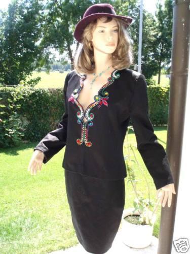 Renzo Kostüm Couture Line schwarz Strass Gr 38