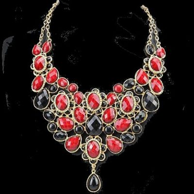 Fashion ,Goldkette, Halskette, Gold, rot, schwarz, Neu (204)