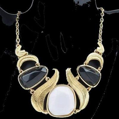 Fashion Goldkette Halskette Gold schwarz weiß Neu (2526