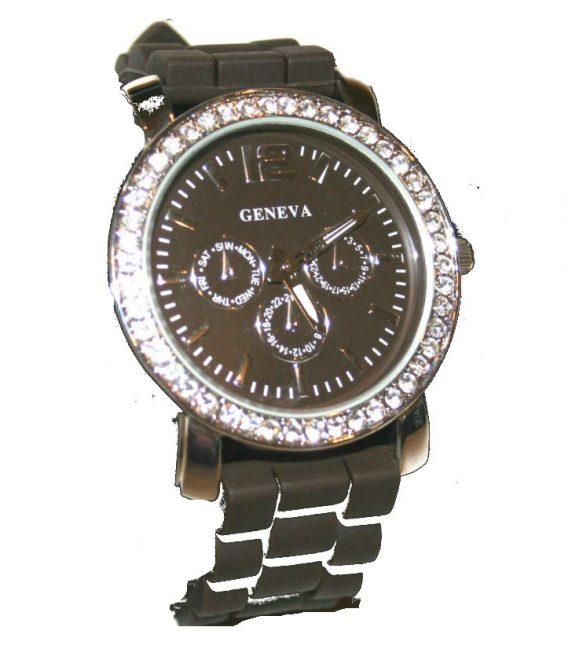 Geneva Quartz Armbanduhr Uhr schwarz Silber Strass Silikon NEU (805)