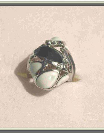 Großer-Schmuck-Silber-Ring-schwarz-weiß-Strass-Gr-16-NEU-