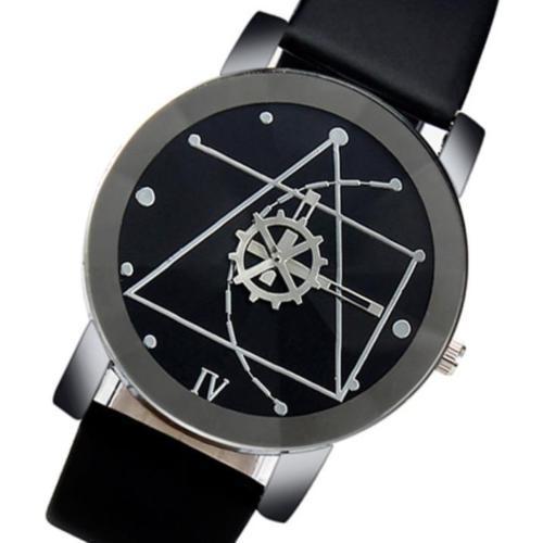 Herren Uhren Edelstahl Leder Analog Quartz Armbanduhr NEU