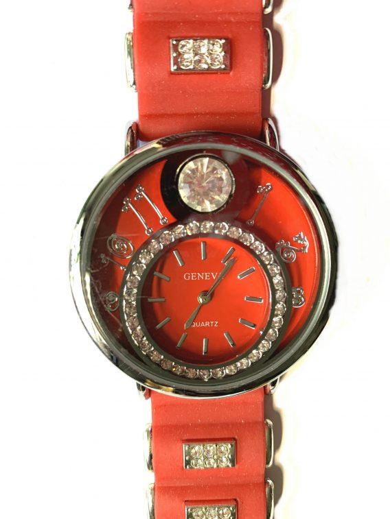 Geneva Quartz Armbanduhr Uhr rot Silber Strass Silikon NEU