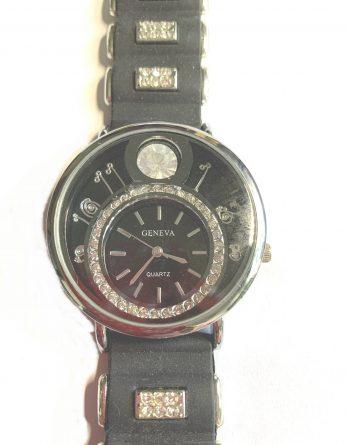 Geneva EDEL Fashion Quartz Armbanduhr Uhr schwarz SILBER Strass Silikon NEU