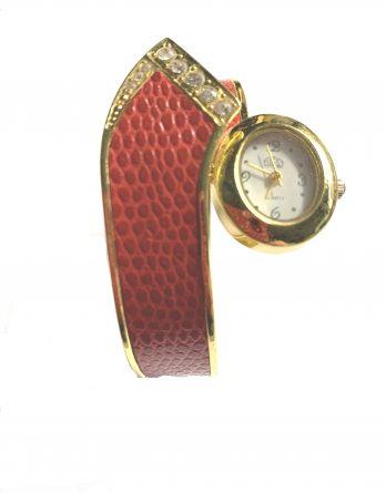 Onli Quartz Spangen - Schmuck Uhr Strass rot gold Armbanduhr NEU (5690[6])