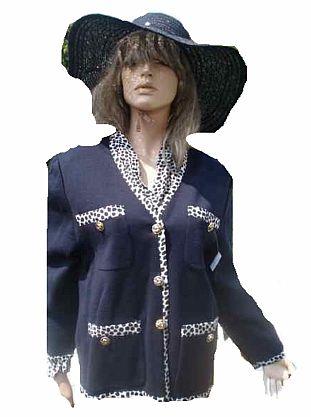 Lady H by Peter Hahn Bluse und Strick Blazer Strickjacke blau weiß Gr 40 (9345)