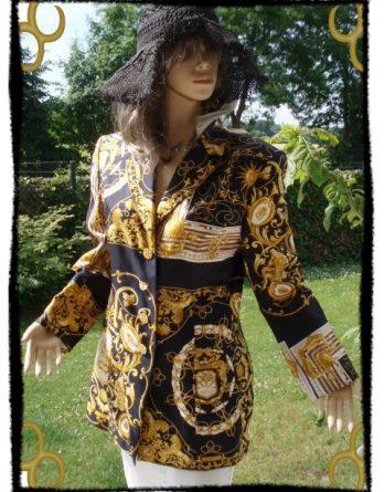 Louis Feraud Set Blazer Blaugelb Gold bunt 100% SeideGr 40 Neu(5564)