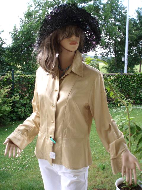 MCM Damen Bluse Gold tailliert Gr. 38 - 40 (5009)