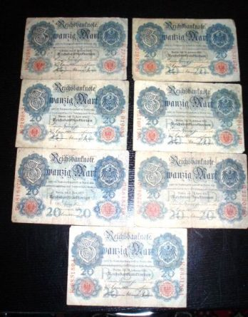 20 Mark Reichsbanknote K Serie 3316767 19 Sep 1914 (804)