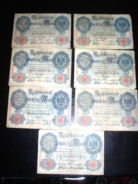 20 Mark Reichsbanknote B 4818479 8. Juni 1907 (804[5])