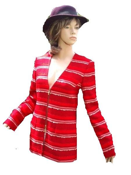 Prestige Elegance Blazer Jacke rot weiß Gr 36 - 38 (865)