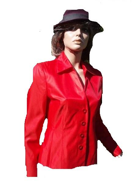 Prestige Elegance Paris Blazer rot Seide Gr 36 (3398)