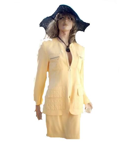 Renzo Kostüm Sommer Sonnen gelb 100% Seide Gr 36 (9004)