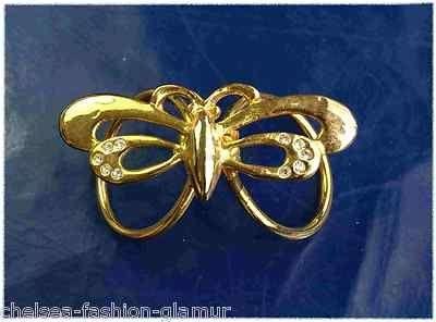 Tuchbrosche Schmuck Tuch Brosche Schmetterling Strass Gold