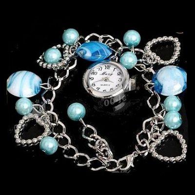 Hellblaue Lampwork Murano Glas Perlen Uhr Armband NEU