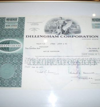 Dillingham Corporation Aktie gerahmt 1977