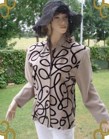 Alba Moda Kostüm Blazer beige schwarz Gr 36