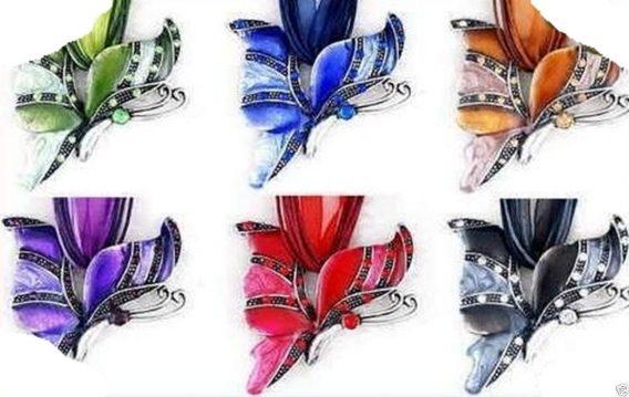Kette Collier Schmetterling Emaillie Style rot Schmuckband NEU (193)