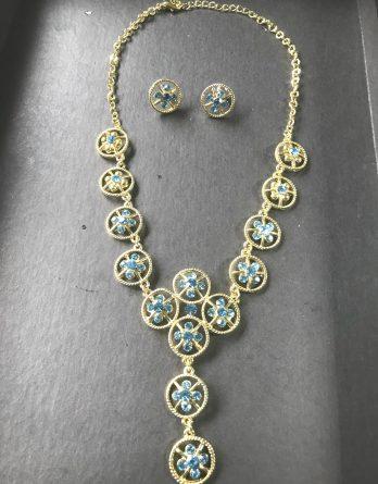 Schmuckset Silberkette + Ohrringe Strass Stern Türkis NEU (5163[3])