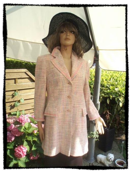 AE Prestige Elegance Paris Blazer Mantel rosa bunt gemustert Gr 40 (5612)