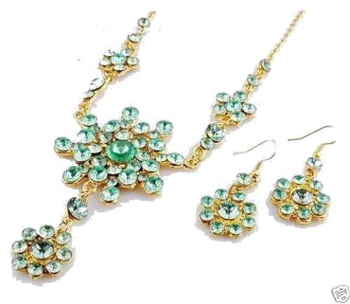 EDEL SCHMUCKSET Collier + Ohrringe strass grün / mint Gold NEUbestehend aus Collier und Ohrringen(874)