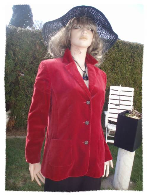 Laurel by Escada Samt Blazer rot leicht Gr 40 (9315)