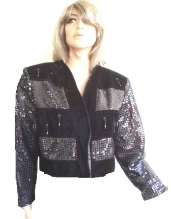 Made in France Pailletten Bolero Kurzjacke schwarz