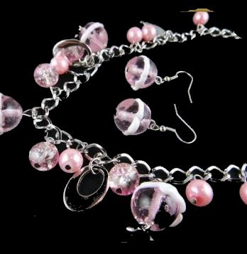 las Design Kette + Ohrringe Silber rosa weiß NEU (9126[1])3