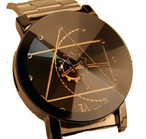Damenuhr Herrenuhr Unisex Uhr Edelstahl Armband Quarz Analog Armbanduhr Schwarz NEU